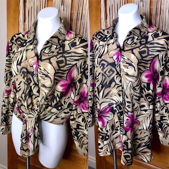 Vintage 90s Hibiscus Flower Loose Button Down